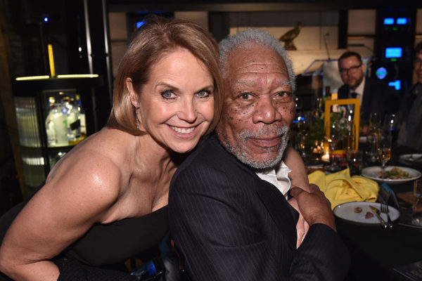 """NEW YORK, NY - APRIL 18:  Correspondent and Executive Producer Katie Couric of """"America Inside Out With Katie Couric"""" and Host and Executive Producer Morgan Freeman of """"The Story of God With Morgan Freeman: Season 3"""" attend National Geographic's FURTHER Front immersive experience where the network took over a SoHo townhouse to unveil their upfront 2018-2019 slate on April 18, 2018 in New York City.  (Photo by Bryan Bedder/Getty Images for National Geographic)"""